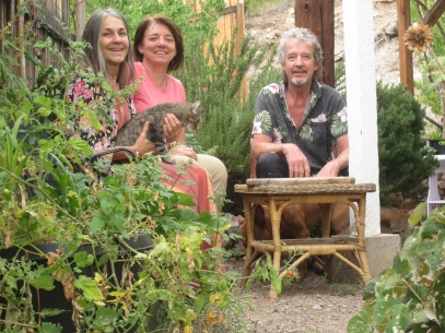 Author Jean Eisenhower with friend Darlene Dabroslavic, partner Greg Renfro, and cat Peaches.