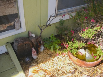 "To the right of our front door, ""Johnny Jump-ups"" (little blue and white violas) were recently seeded beneath the straw mulch.  To the right is a pottery bowl always kept full of water for small wildlife.  Near the stones and crystals is a young wisteria that'll one day cascade its blooms in an arch over the doorway!"